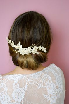 Ivory Lace Hair Comb  Bridal Hair Jewelry  by JanaRoyaleDesign