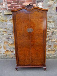 QUEEN ANNE BURR WALNUT DOUBLE DOOR GENTS FITTED WARDROBE for sale