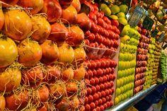 Fruits, colors and exquisite visual merchandising, in La Boqueria, Barcelona!