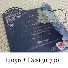 Wedding Invitation DLE Letterfold DIECUT Ribbon Brown Design 237