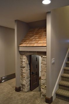 This is amazing! My sister and I used to have a secret hang out under our stairs as kids. kids playhouse built in under the stairs Under Stairs Playhouse, Indoor Playhouse, Build A Playhouse, Playhouse Ideas, Playroom Furniture, Bedroom Furniture, Furniture Design, Dog Rooms, Building For Kids