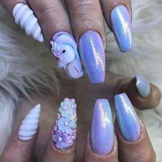 Purple unicorn nails