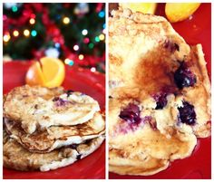 Banana-egg blueberry pancakes