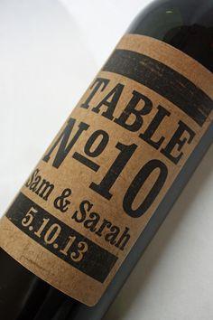 wine bottle label wedding table numbers. SWEET