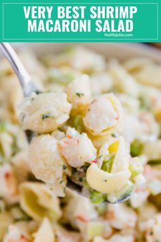 Do you want to be the most popular person at the picnic? Then make my Grandma\'s Very Best Shrimp Macaroni Salad! Meaty c Shrimp Macaroni Salad, Creamy Shrimp Pasta, Best Macaroni Salad, Sea Food Salad Recipes, Seafood Recipes, Pasta Recipes, Cooking Recipes, Cold Shrimp Salad Recipes, Shrimp Salads