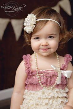 Ivory Cream Baptism Baby Headband Lace Flower rhinestone Pearl Tulle Nylon Skinny Band Newborn Toddlers Infant Babies Bling Posh