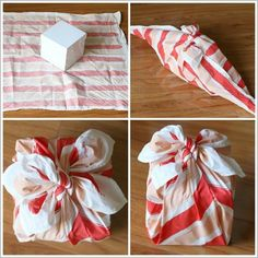 How to Tie Fabric Gift Wrap - Furoshiki Wrapping Ideas, Present Wrapping, Wrapping Papers, Diy Fabric Gift Wrap, Fabric Gifts, Crafts For Boys, Diy Crafts To Sell, Diy For Kids, Furoshiki