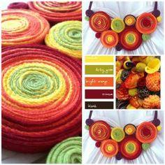 culorile toamnei Felt Flowers, Felt Crafts, Quilling, Collars, Handmade, Diy Kid Jewelry, Felting, Felted Flowers, Bedspreads