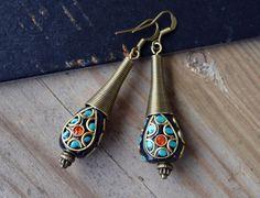 Turquoise Earring Nepalese Tibetan Earrings Tribal by LKArtChic