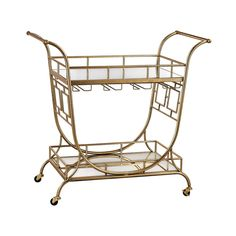 Your guests will be shaken and stirred when they see the Julep Series Mirrored Server Bar Cart from Sterling Industries. Exuding Mid-Century glamour, it has a dynamically curved design with 2 mirrored shelves, wine rack, stylish handles, and casters.