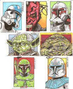 """Star Wars - Color Sketch Cards: A variety of sketch cards done for """"Star Wars Day"""" at the Frank & Son Collectible Show here in So-Cal. Yup, I had Ray Park sign the Darth Maul card because I'm a fanboy. Deal with it! :D"""