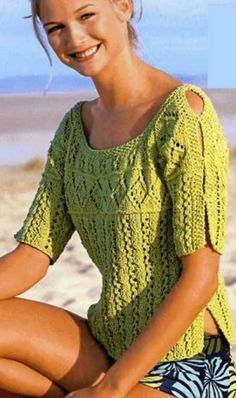 This Pin was discovered by Mar Knitting Designs, Knitting Patterns Free, Knit Patterns, Summer Knitting, Lace Knitting, Crochet Blouse, Knit Crochet, Crochet Woman, Knitting Accessories