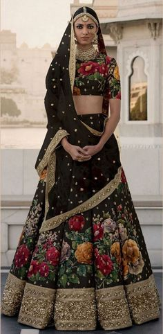 Buy beautiful Black floral lehenga choli with to be the center of attraction of any party you attend.  Lehenga and choli are made with fine Art Silk crafted with Digital Print with Dori,Sequins Embroidered Border and Pearl work. Dupatta made with netting material and Pearl work.  It can be stitched in all sizes small medium large and extra large. Minimum 28 inches to maximum 44 inches chest size. Designer Bridal Lehenga, Indian Bridal Lehenga, Indian Bridal Wear, Indian Wedding Outfits, Indian Outfits, Wedding Dresses, Sabyasachi Lehenga Bridal, Indian Sarees, Anarkali