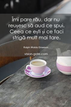 Bună dimineața! Ralph Waldo Emerson, Life Lessons, Motivational Quotes, Messages, Religion, Anna, Death, Change, Coffee