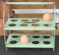 Omg... i need this!! It will go great in my kitchen!! vintage egg holder #vintagekitchen