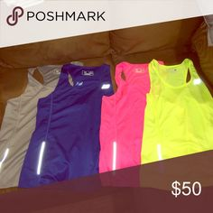 New Balance Workout Tank Bundle 4 dri fit tanks- never worn! Cool neon colors. Tops Tank Tops