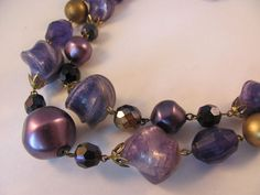 Vintage 1950s Chunky Two Strand Purple Lucite by SwankyJewels, €35.00