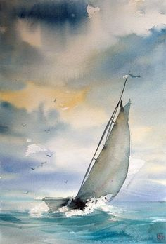 There was a boat that sailed off at sea today, it was a one sided love fresh from a human heart—and it sails on even now, across an ocean of tears and unsaid words—towards heartbreak, the island of shattered dreams and dashed hopes; folklore says that swe Watercolor Water, Watercolor Landscape, Watercolour Painting, Landscape Paintings, Watercolors, Watercolor Artists, Sailboat Painting, Boat Art, Watercolor Techniques