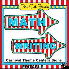 These fun Carnival or Circus theme centers signs will look fantastic in your classroom! This set is so versatile because you can make any signs that you want with the included blank sign and editable Powerpoint file. By Pink Cat Studio. Circus Theme Classroom, Classroom Signs, Classroom Decor Themes, Future Classroom, Classroom Ideas, Fun Educational Games, Teaching Special Education, Teaching Resources, Carnival Themes