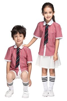 Yuanlu Boys School Uniforms Set 4 Piece Suspender Shirt Button-Tie Pants Size 8 Pink Strip