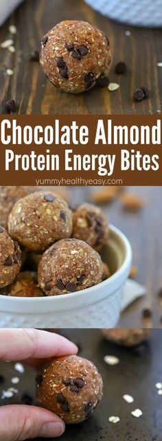 Looking for a easy to grab snack that's packed with flavor AND protein? Try these Chocolate Almond Protein Energy Bites! They're easy to make with only a few ingredients (that you probably already have on hand!) and they taste so yummy! Plus, there are 5 Nut Recipes, Snack Recipes, Dessert Recipes, Cooking Recipes, Shrimp Recipes, Pizza Recipes, Rice Recipes, Beef Recipes, Chicken Recipes