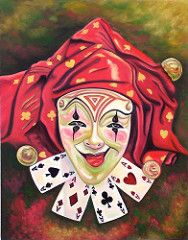 The Joker - Oil on Canvas (artwork by, Sun Studio) Tags: life family carnival flowers houses costumes boy sunset moon southwest color art beautiful face composition contrast pencil portraits sunrise buildings painting studio landscapes big still artwork eyes ruins scenery rocks colorful paint gallery order dancers faces jester photos circus wildlife rustic fine paintings arcade hats drawings brush lips 66 historic retro canvas route spanish vision masks adobe oil ambient characters indians…