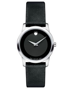 Movado Watch, Women's Swiss Museum Black Leather Strap 28mm 0606503 - Movado - Jewelry & Watches - Macy's