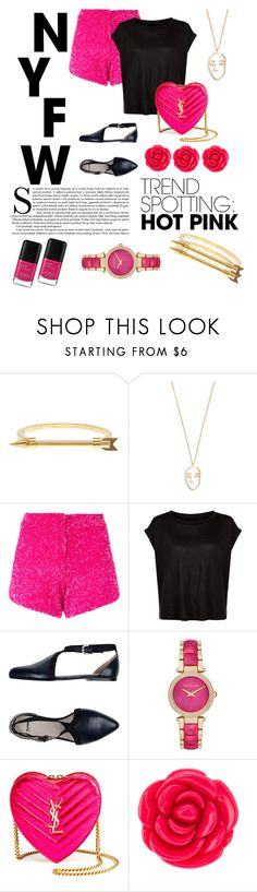 """""""#WinItNYFWTrendSpotting:HotPink"""" by mrsgg ❤ liked on Polyvore featuring Sterling Forever, Amber Sceats, Manish Arora, Jil Sander Navy, Michael Kors, Yves Saint Laurent, Disney, contestentry and NYFWHotPink"""