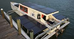 "Solar-Powered Boat Embarks On Guinness Book of World Records Voyage    From solarboatchronicles.com   ""The Ra is a custom-built 48' trimaran able to move lightly across the water's surface. Itl sleeps six, and its solar panels and batteries are sufficient for a half-day cruise before recharging.  The Ra, if it is successful, will be the first solar-powered boat to traverse The Great Loop. The Ra is expected to have no fuel costs for its journey!"""