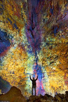 Stunning image showing the magma chambers buried deep at the bottom of the Thrihnukagigur volcano, near Reykjavik in Iceland.