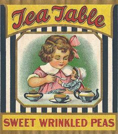 Vintage can of Peas paper label.  What the heck are Wrinkled Peas?