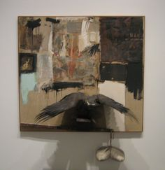 """Rauschenberg, Canyon (1959)  •""""neo-dada""""- assembles detritus of the everyday  •uses printed imagery  •bald eagle- illegal to own  •was a gift. Can't resell-illegal. Given as donation, tax must be paid.  •""""you have to have time to feel sorry for yourself if you're gonna be a good abstract expressionism.""""  •""""you have to work in the undefined space between art and life"""""""