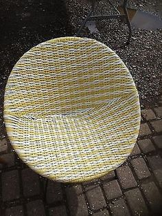 Vintage 1960 s Yellow & White Woven Satellite Bucket Chair Atomic Sputnik…