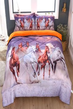 ENCOFT Running Horse Comforter Sets Twin Size Kids Bedding Sets, Tencel Cotton Horse Comforter with 2 Pillowcases Running Horses, Kids Running, Kids Bedding Sets, Comforter Sets, Horse Bedding, Bed Linen Sets, Twin Girls, Horse Girl, Room Decorations