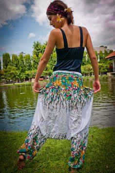 White Harem Pants w/ Turquoise Floral Print. Handmade in Thailand, by Thai designers. $29.00, via Etsy.    :)