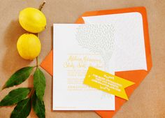 Oh So Beautiful Paper: Adelina + Blake's Citrus and Olive Wedding Invitations
