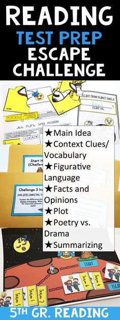 This is a combo of a breakout and escape challenge - play with teams and it's easy to set up and manage. This one is a test prep review of the reading standards: Main Idea Context Clues/Vocabulary Figurative Language Facts and Opinions Plot Poetry vs. Drama Summarizing Critical Thinking #escapeclassroom #breakoutedu