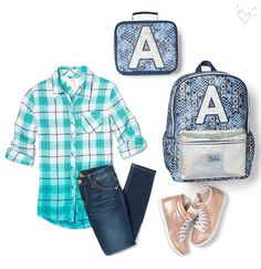 Our gold high tops, Aztec-print backpack and lunch tote add awesome shimmer to your cool school look.