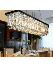 8 Light 394 Width Polished Chrome Modern Crystal Chandelier For Dining Room Living