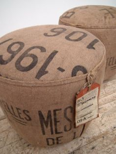 Stool made from Hessian sacks gorgeous