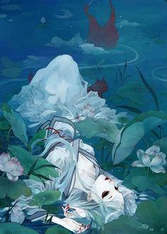 #anime fish water lily pad lotus mermaid