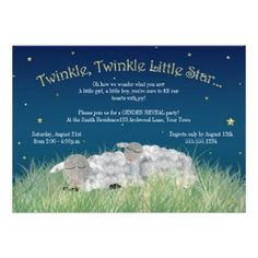 Shop Gender Reveal Party Twinkle Little Star Cute Sheep Invitation created by prettypicture. Personalize it with photos & text or purchase as is! Gender Reveal Party Invitations, Baby Gender Reveal Party, Baby Shower Invitations, Invites, Wedding Invitations, Sheep Cards, Cute Sheep, Baby Sheep, Star Baby Showers