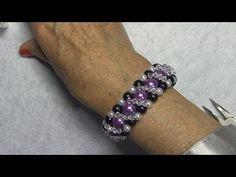 (34) # DIY - Pulsera para el dia de la madre de perlas lilas y cristalitos - YouTube