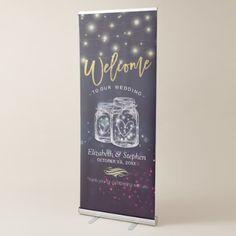 Wedding Chic Mason Jar Purple Sparkle String Light Retractable Banner - marriage gifts diy ideas custom