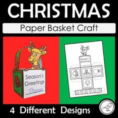 Christmas Craft - Make a Paper Gift Basket Christmas Paper, Christmas Images, Christmas Crafts, Basket Crafts, Gift Baskets, Classroom Activities, Craft Activities, Stocking Template, Paper Basket