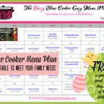Slow Cooker Family Friendly Menu Plan with Recipe Links - April