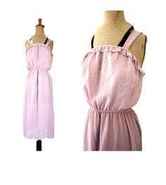 DUSTY PINK 70s RUFFLE Dress by Jamain of Melbourne Summer Spring sz au 14 Disco picnic Dusky mauve by LibertyCrush on Etsy
