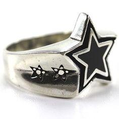 925 Sterling Silber Ring Black Star