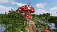 Thought I would try a Mushroom House Build For Something Different Any Thoughts? : Minecraft in 2020 Cute minecraft houses Minecraft crafts Minecraft creations