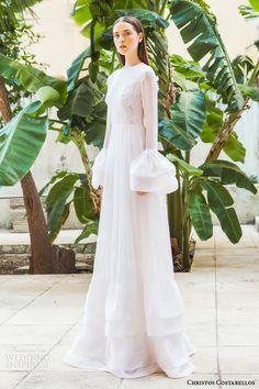 christos costarellos bridal 2015 br15 00 long bell sleeve wedding dress high neckline